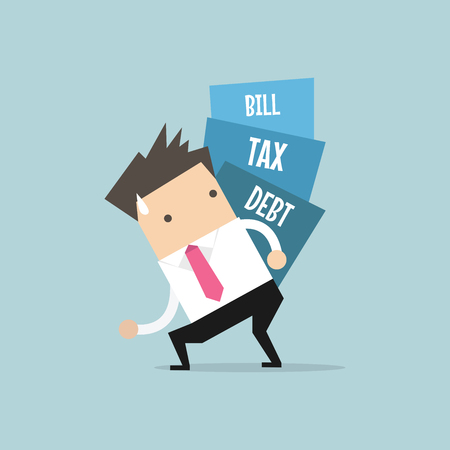 Businessman carry pile of debt, tax and bill. vector