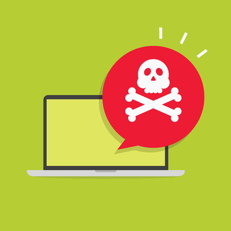 leaking: Alert notification on laptop computer vector, malware concept, spam data, fraud internet error, insecure connection, online scam, virus