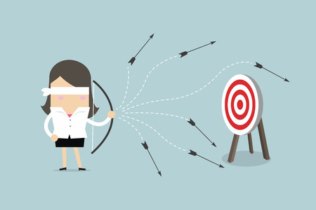 Blinddoek zakenvrouw met pijl en boog mist het doelwit. vector Vector Illustratie