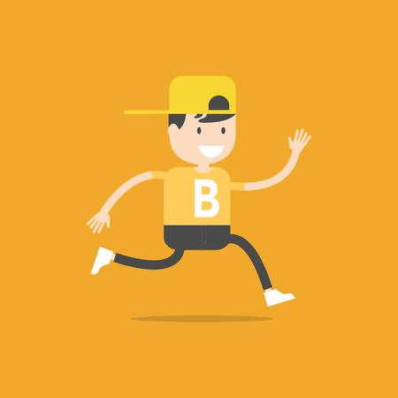 Little boy running vector