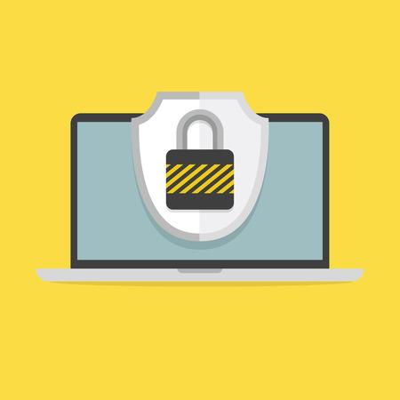 노트북 및 화면에 자물쇠와 방패. 컴퓨터 보안 및 보호 개념, 벡터입니다. 일러스트