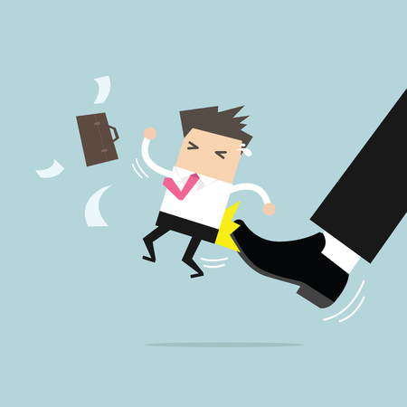 Businessman being kicked by the boss concept, vector illustration. Illustration