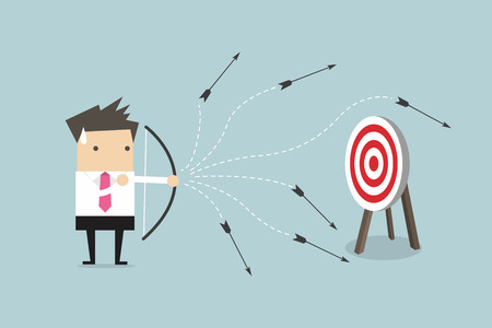 Businessman loser concept, shooting an arrow, vector illustration. Ilustrace