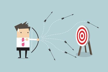 Concepto del perdedor del hombre de negocios, tirando una flecha, ilustración del vector.