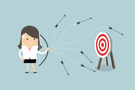 Businesswoman can not hit a target concept with a bow and arrow, vector illustration. Stock Illustratie