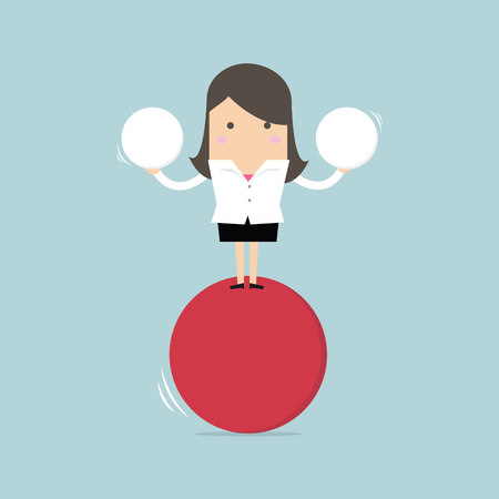 work life balance: Businesswoman balancing on red ball holding two spheres.