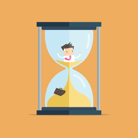 Businessman be trapped in hourglass and sinking in sand. Expired deadline, business time management, time is running out themes design.