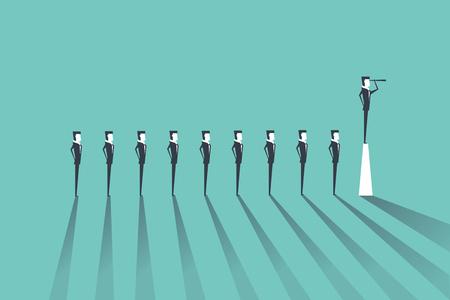Concepto de liderazgo empresarial con el empresario de pie en el pilar. Gerente, vector de posición ejecutiva.