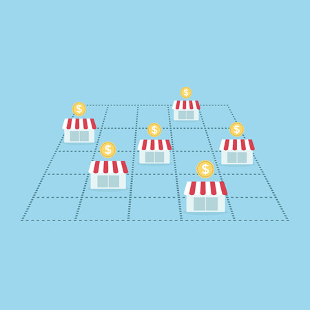Business concept make money with franchise store. vector Illustration