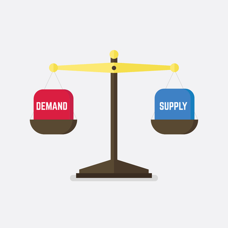 Demand and Supply balance on the scale. Business Concept