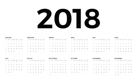 event planner: A Vector circle calendar 2018. Week starts from Sunday. Illustration