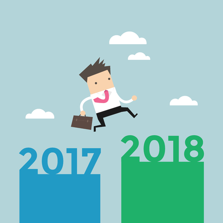 dangerous man: Businessman jump from 2017 to 2018. vector Illustration
