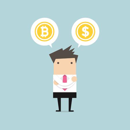Businessman with Bitcoin or dollar choice. vector Illustration