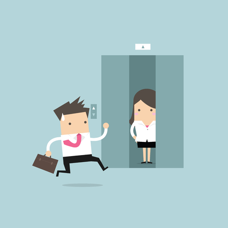 Businessman running to elevator and elevator is closing vector