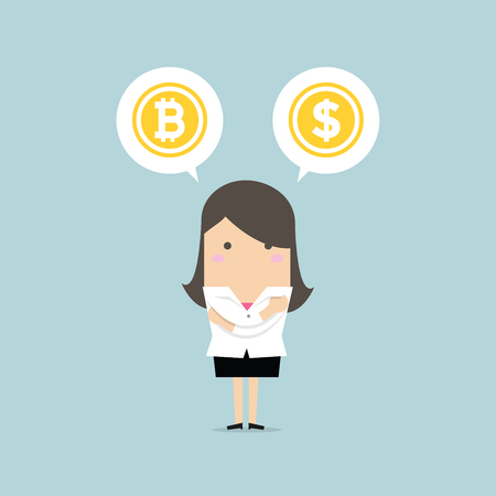 Businesswoman with Bitcoin or dollar choice. vector Illustration