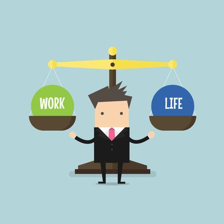 Businessman balance Work and life. vector