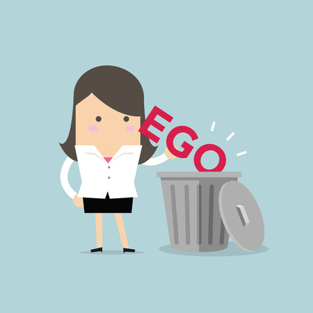 Businesswoman throw his ego into the trash vector Illustration