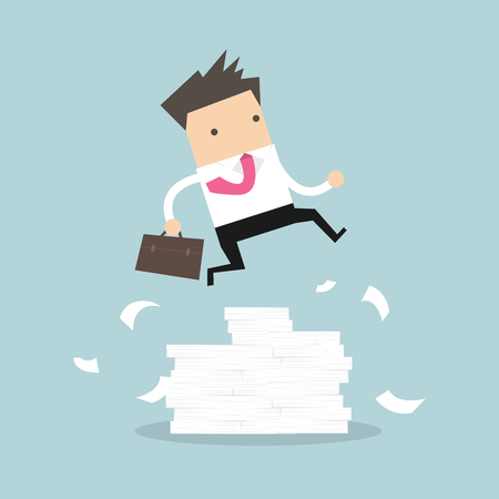 Businessman or manager jumping over obstacles. Large stack of documents. vector