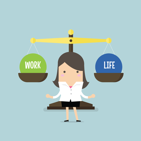 work life balance: Businesswoman balance Work and life. vector Illustration