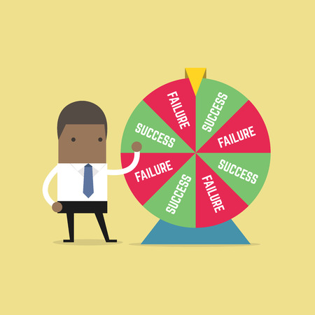 African businessman and result of wheel of fortune. vector