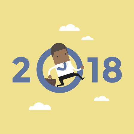African businessman jump throw zero in number 2018. vector Vectores