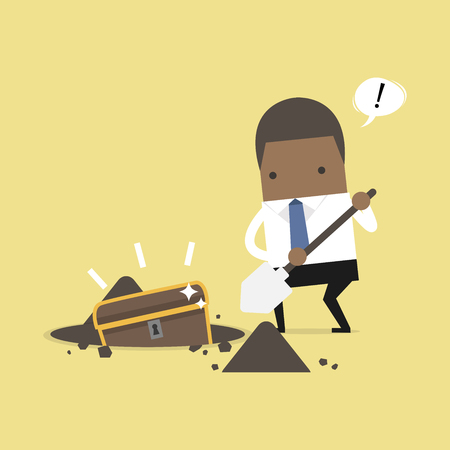 African businessman digging ground for a treasure. vector