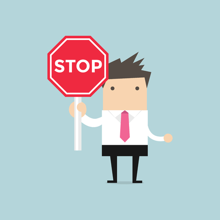 Businessman showing stop road sign. Serious businessman with stop road sign. Vector Illustration