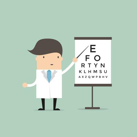 検眼医は、視力、ベクトルをテストするためのテーブルを指しています。