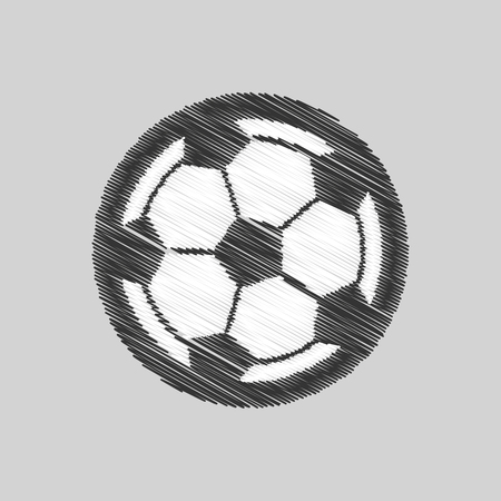 Drawing soccer ball element sport vector illustration