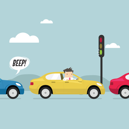 Businessman on the road with traffic jam, Green traffic light, honk a horn. vector Illustration
