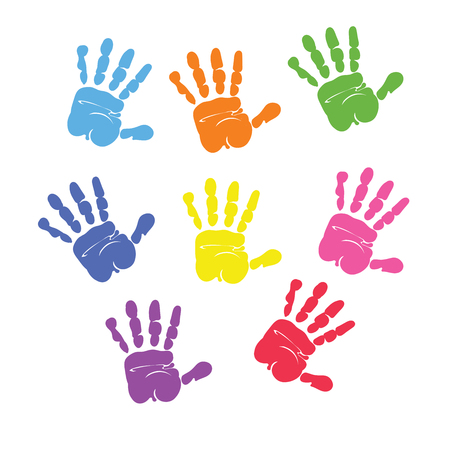 Set of colorful hand prints isolated on white background.