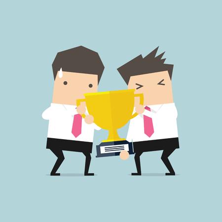 Two businessmen fighting each other for winning award. Vector Illustration