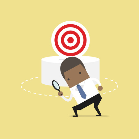 African businessman can not find the target. Business concept