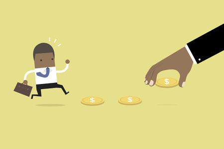 아프리카 비즈니스 손을 사업가, 미끼 또는 금융 함정을 유혹하는 돈을 사용합니다. 벡터