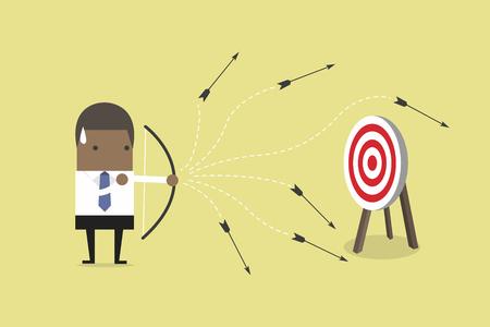 African businessman loser shooting arrow. vector
