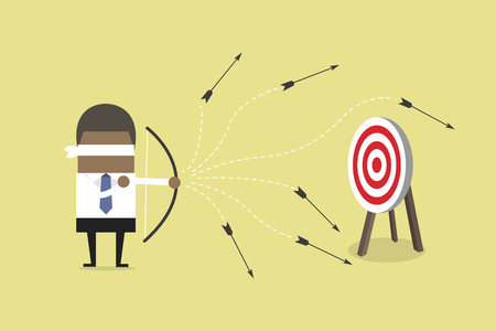 African blindfold businessman loser shooting arrow. vector