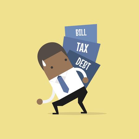 African businessman carry pile of debt, tax and bill. vector Vektoros illusztráció