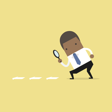 African businessman searching through a magnifying glass. Searching, details, clue concept. Flat cartoon style. Vector