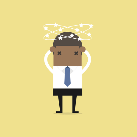 African businessman with stars spinning around his head. vector