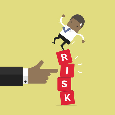African businessman standing on shaky risk blocks by hand of manager. vector