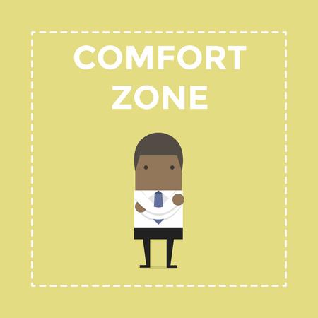 Businessman standing in comfort zone.