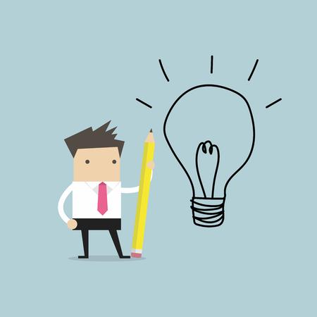 Businessman use pencil to draw a light bulb.
