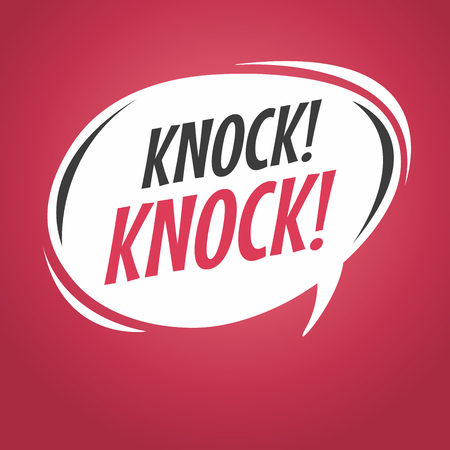 Knock knock cartoon speech bubble