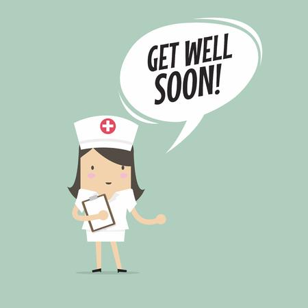 Nurse with get well soon speech bubble.