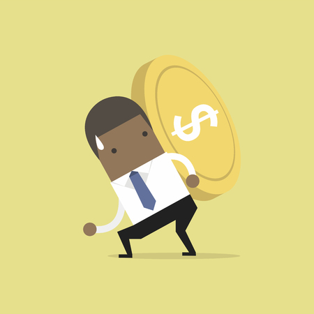 Businessman carrying big and heavy gold coin on his back.