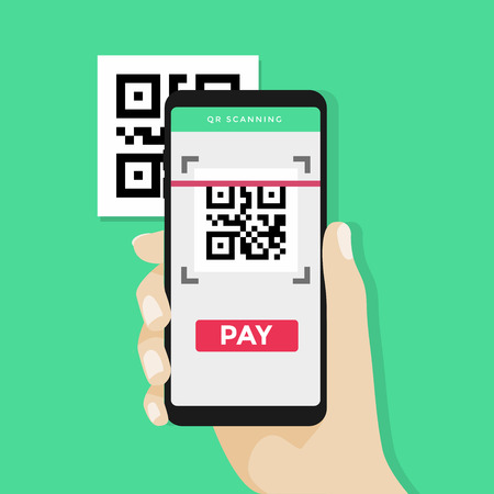 Hand holding smartphone to scan QR code on paper for detail, technology and business concept.