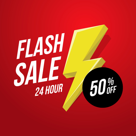 24 hour Flash Sale banner template illustration. Stock Vector - 92762228