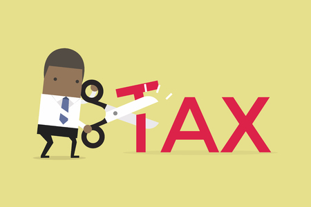 African businessman with scissors cutting big T letter vector illustration. Reduce Tax Business concept.
