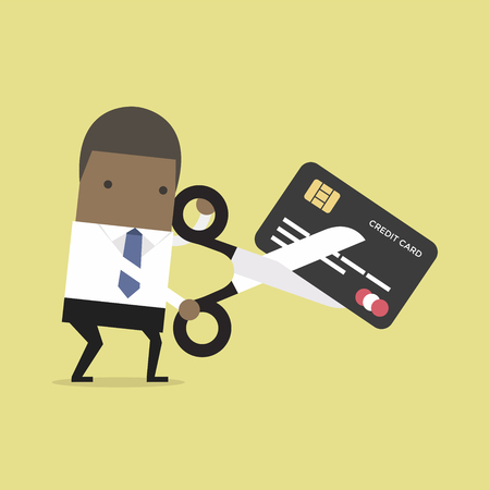 African businessman cutting credit card. vector Illustration