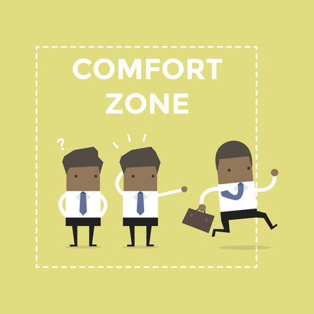 African businessman exit from comfort zone. vector Illustration
